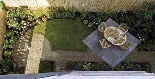 love this design but probably too open for your plot - Garden Design Long Narrow Plot