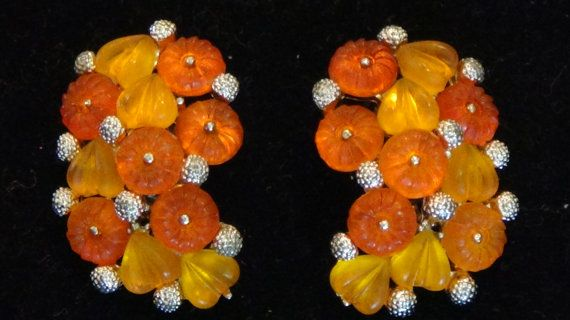 Vintage, 60s, clip earrings, orange and gold tone, by JuniperLaneAZ, $21.00, on Etsy
