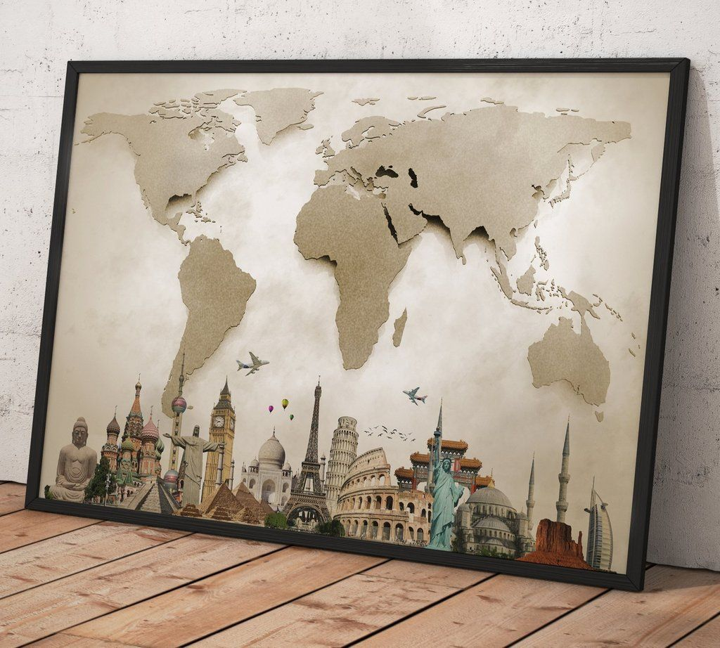 Beautiful world map 0702 framed canvas print contemporary wall contemporary wall decor pieces turn any room into a work of art free shipping coupon xmas2018 christmas gift gumiabroncs Choice Image