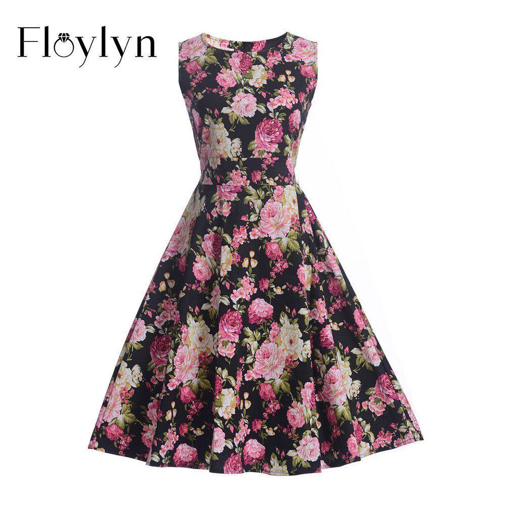 Vintage Floral Sleeveless Swing Dress  #swing #vintage #floral #dress