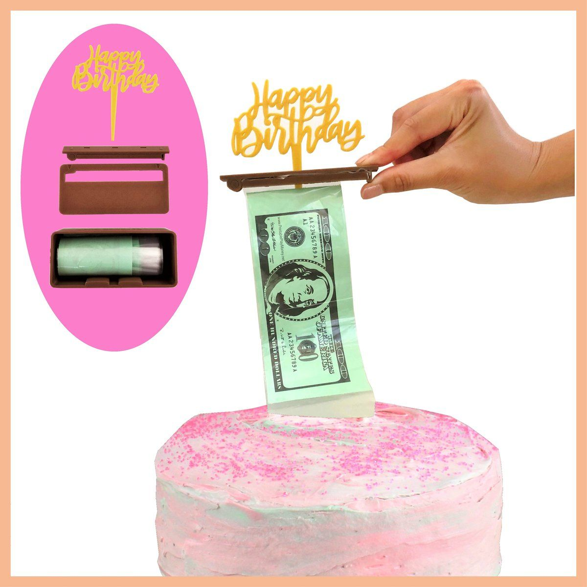 Combine a cake and money with a money cake dispenser box