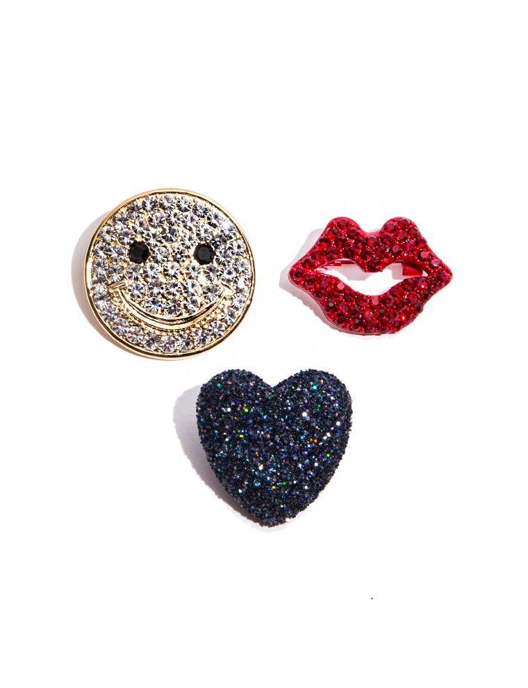 Happy Face Diamond Pin Set $38.00