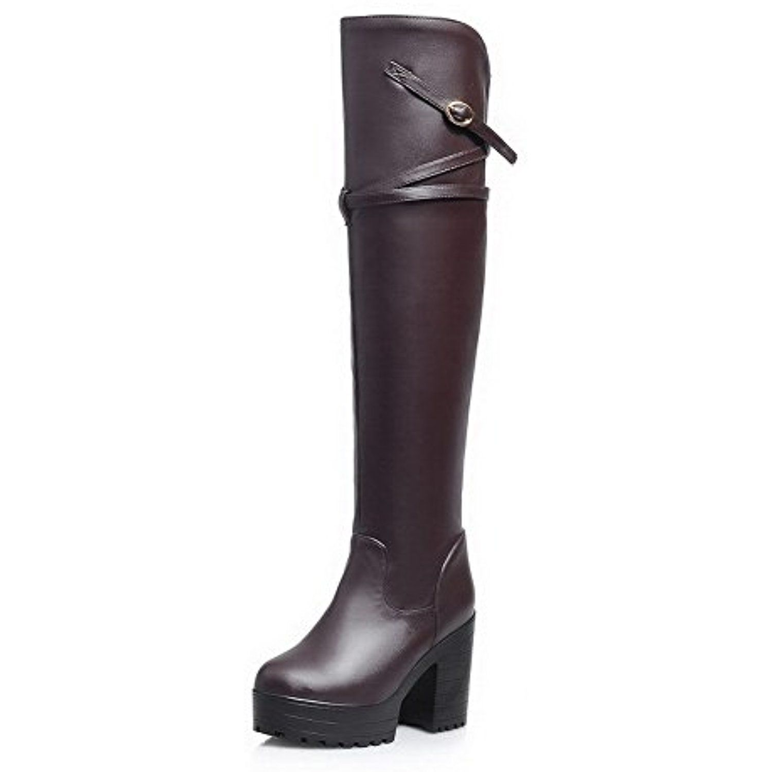 Women's Round Closed Toe PU Pull-on Above-the-knee High-heels Boots