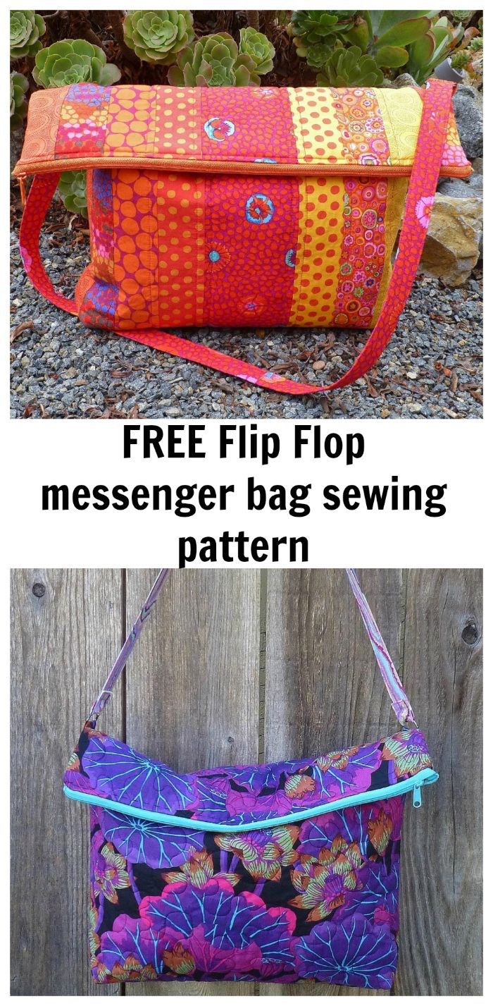 FREE flip flop messenger bag sewing pattern. A roomy tote bag with a ...