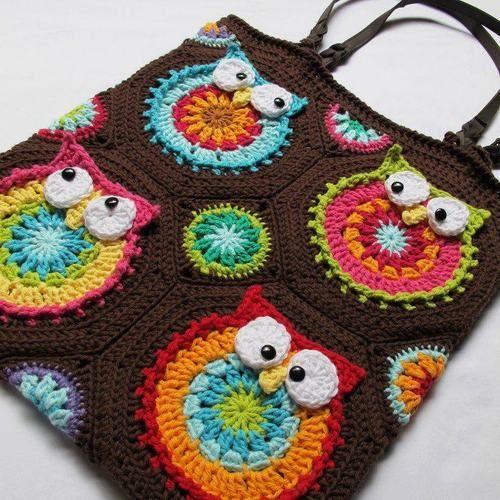 Crochet granny square/owl bag no pattern, just idea | crochet ...