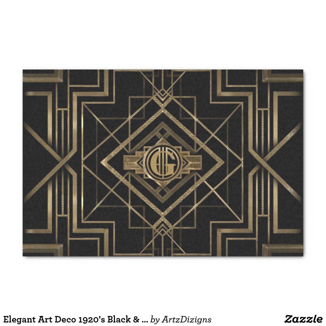 Elegant Art Deco 1920s Black & Gold Tissue Paper | Zazzle.com