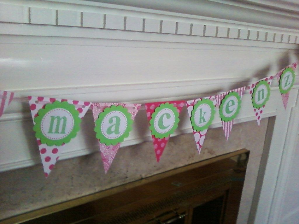 Adorable Pink and Green Pennant Banner with by ALittleLollipopTree, $20.00