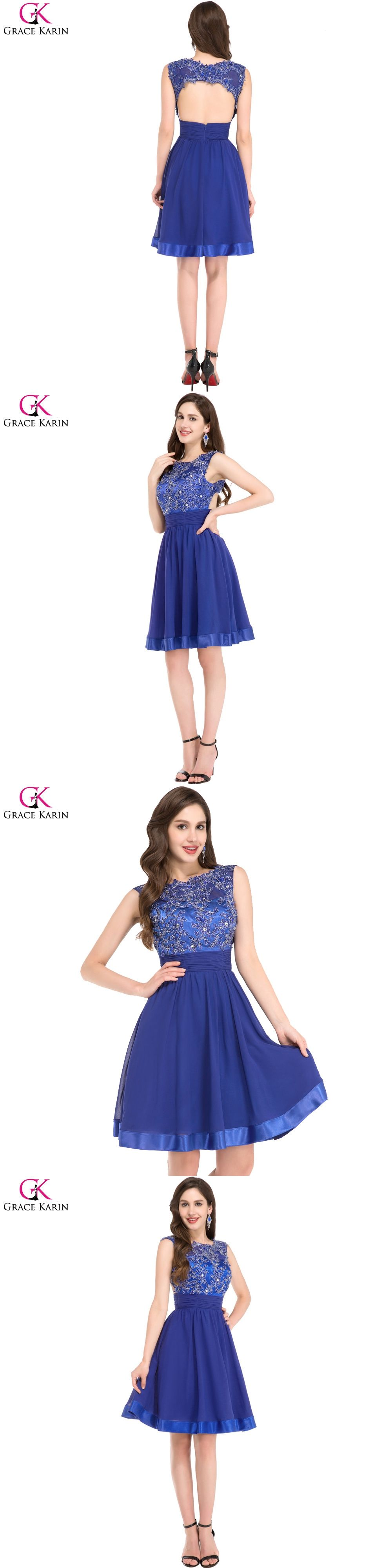 Grace karin blue lace appliques short prom dresses cap sleeve