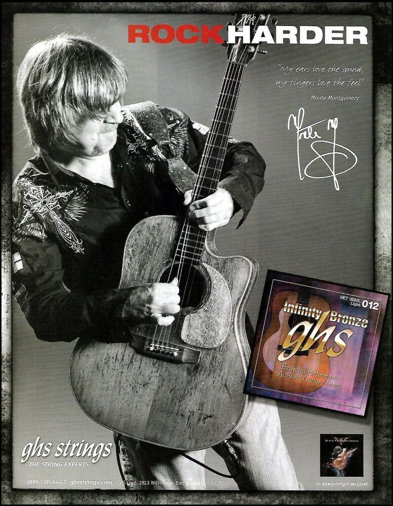 Monte Montgomery 2010 Ghs Acoustic Guitar Strings Ad 8 X 11 Advertisement Print Ghs In 2020 Acoustic Guitar Strings Acoustic Guitar Guitar Strings
