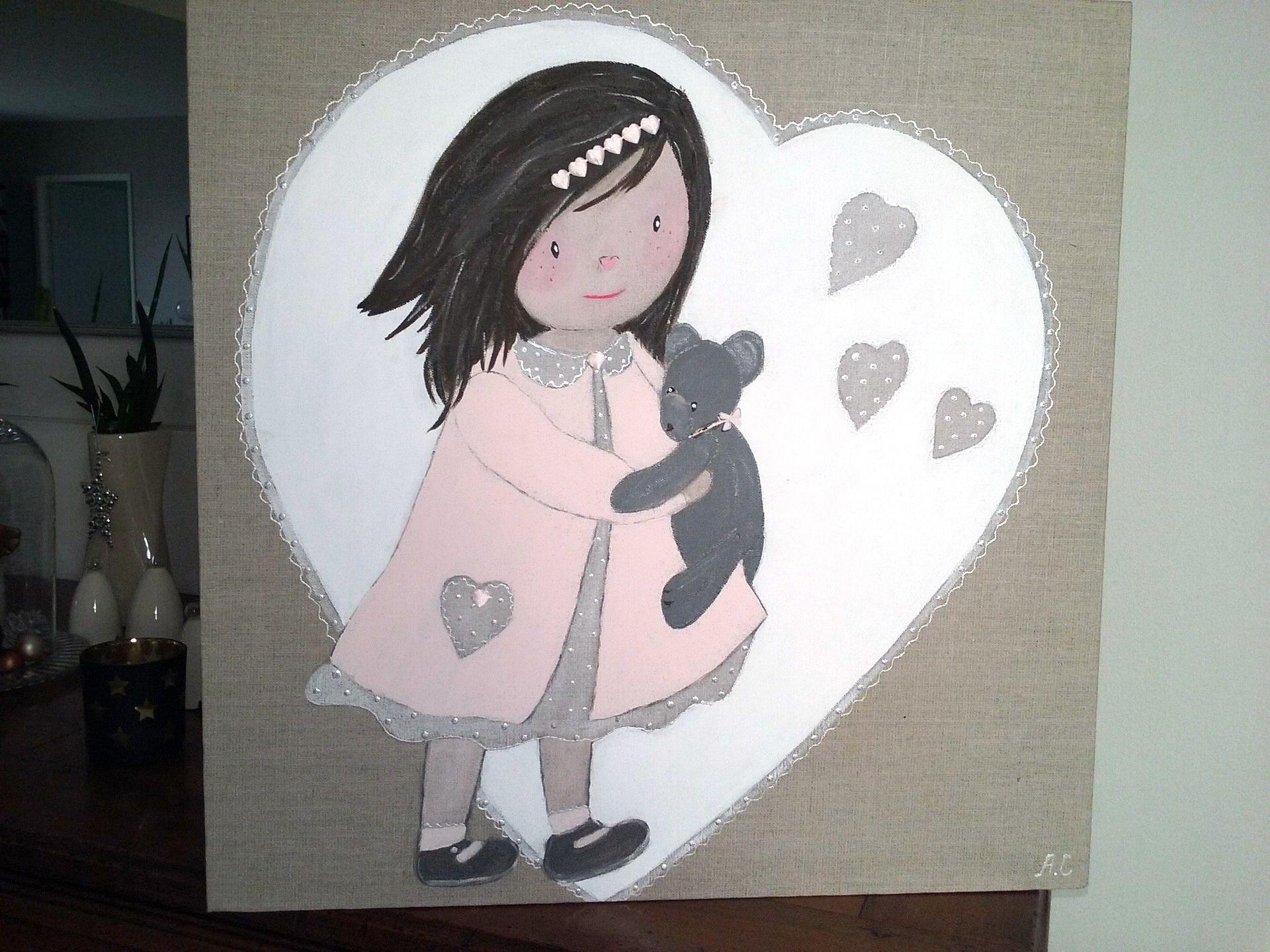 Tableau d coratif en peinture pour chambre de petite fille deco int rieure enfants peinture - Tableau chambre fille ...
