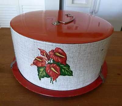 Vintage 1950s Decoware Cake Carrier Red Anthurium hawaiian Retro. I would LOVE to own this.