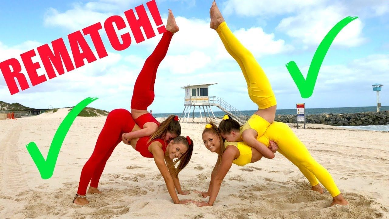 Big Sisters Vs Little Sisters Extreme Yoga Challenge Rematch Yoga Challenge Yoga Challenge Poses Yoga Poses For Two