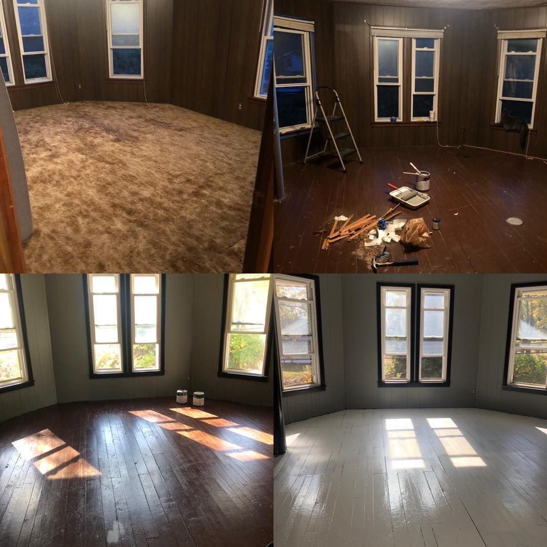 Here's the transformation of our master bedroom! It's amazing what paint can do. Still getting the furniture situation finalized and decorating. I can't wait to share once I have all my favorite pieces in here.        #beforeandafter #centuryhome #masterbedroom #DIY #diybedroom #diydaily #home #interior #oldhouse #thisoldhouse #homedecor #homeproject #paint #gray #black #whiteflooring