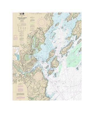Portland Harbor Maine Nautical Chart Sailcloth Print Sailing Outfit Blanket