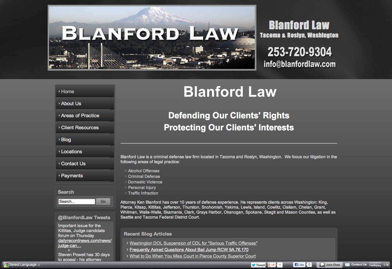 Blanford Law Www Blanfordlaw Com Personal Injury And Dui Attorney In Tacoma And Roslyn Wa This Was A Conversion And Rebuild Of Dui Attorney Joomla Roslyn