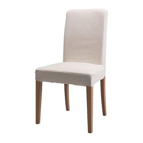 IKEA - HENRIKSDAL, Stuhl, Gobo weiß,  , , Mit Polyesterwatte gepolsterte Sitzfläche und hohe Rückenlehne sorgen für besondere Bequemlichkeit.Stuhlbeine aus Massivholz, einem strapazierfähigen Naturmaterial.Der Bezug ist maschinenwaschbar: pflegeleicht.Der waschbare Bezug für das HENRIKSDAL Stuhlgestell lässt sich leicht anbringen und abnehmen.