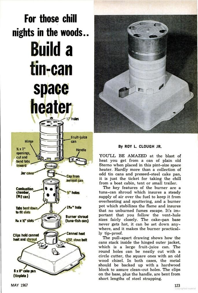 Build a tin can space heater 1967 may popular mechanics for Tin can solar heater