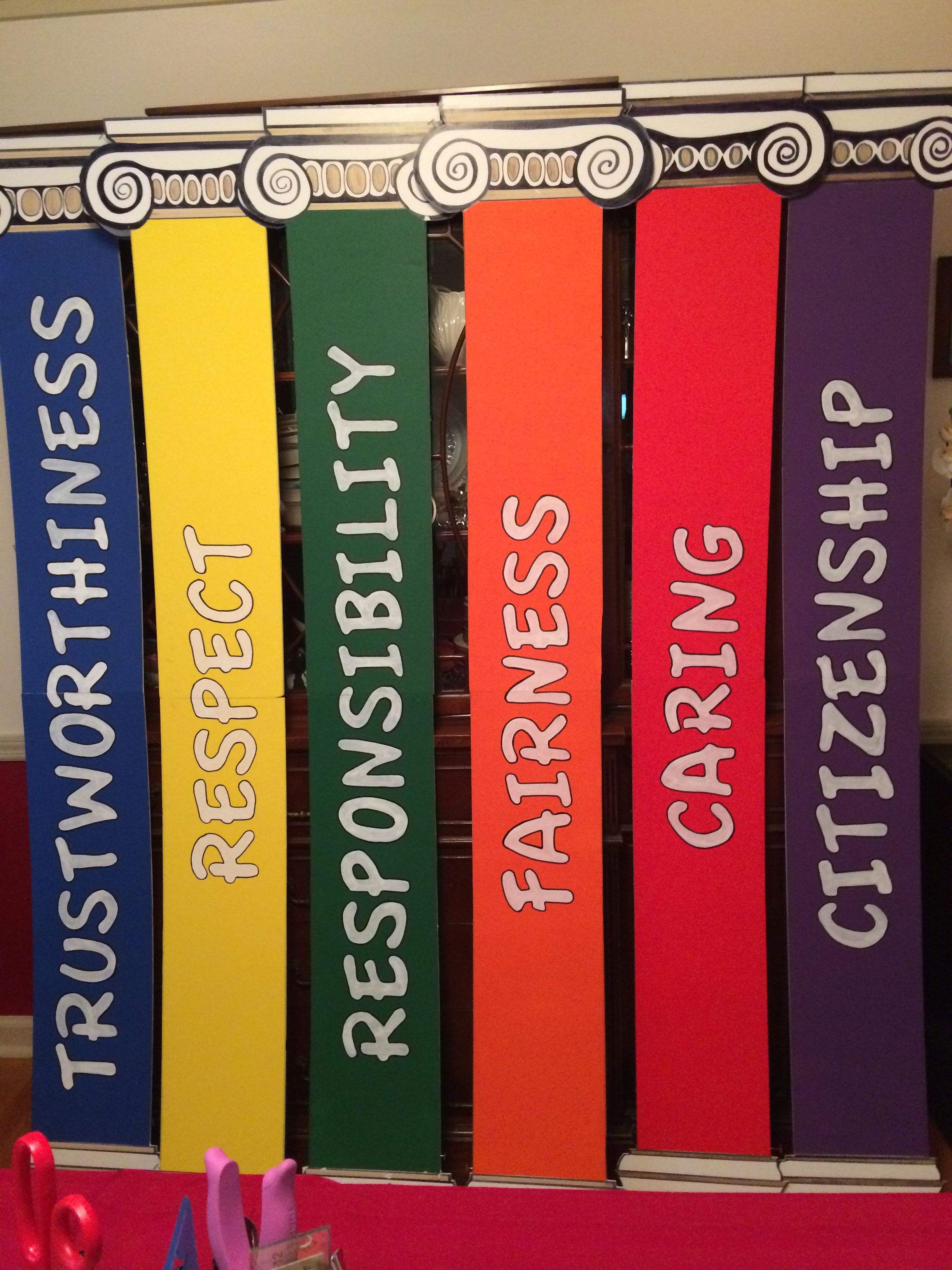 Pillars Of Character For Our School Foyer