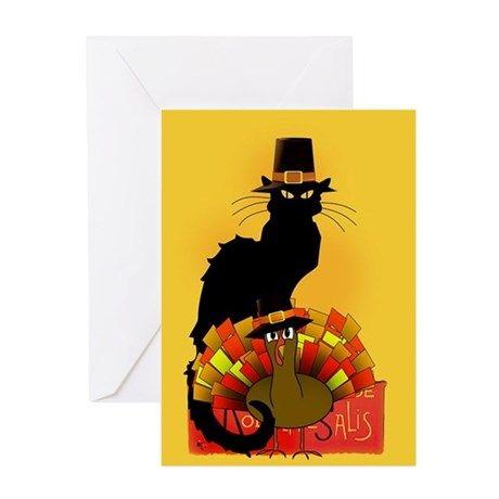 #Thanksgiving #LeChatNoir   Greeting Cards #Cafepress #SpoofingTheArts #Gravityx9