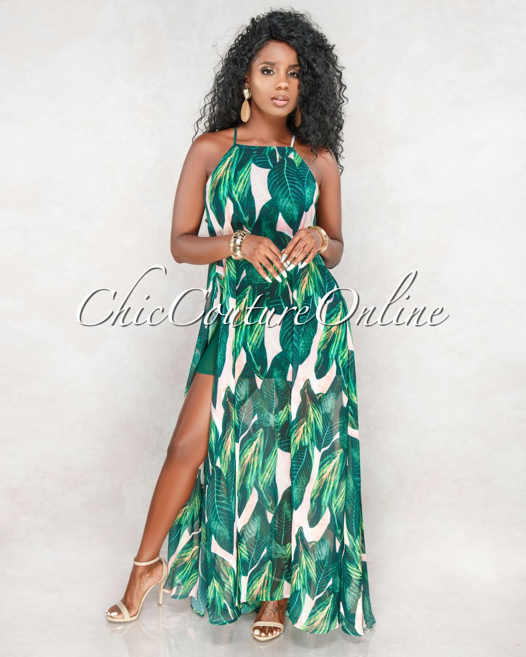 6e9082cceb88 Chic Couture Online - Privy Green Pink Leaf Print Sides Slits Maxi Dress