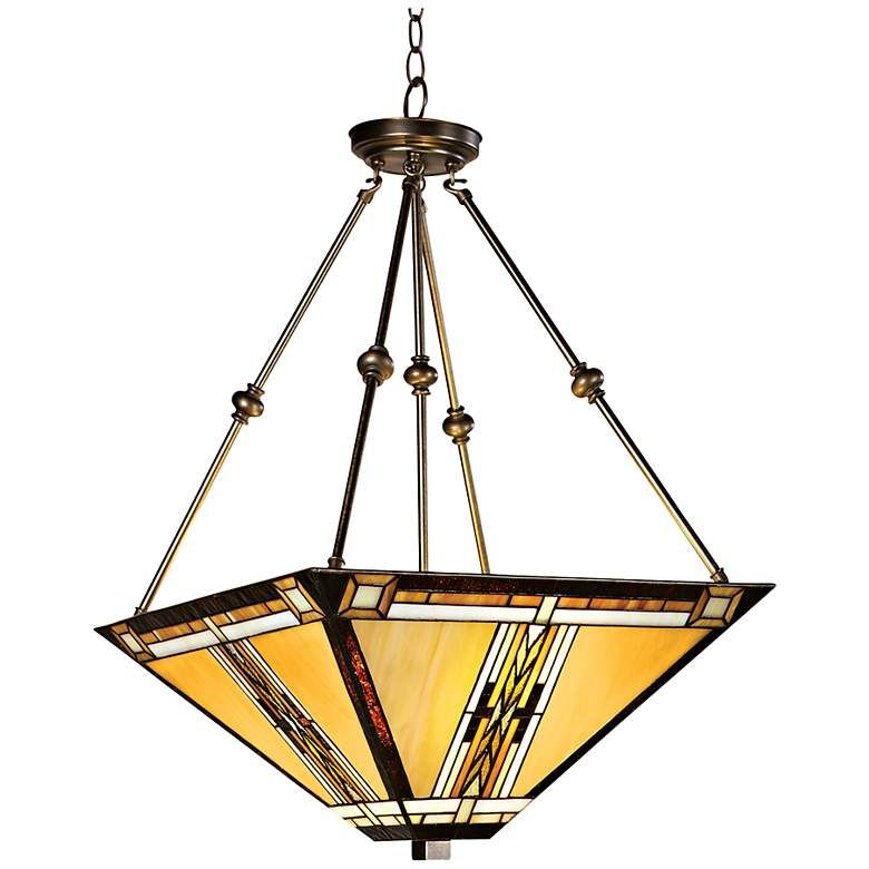 Walnut Mission Style Pendant Chandelier 43240 Lamps Plus In