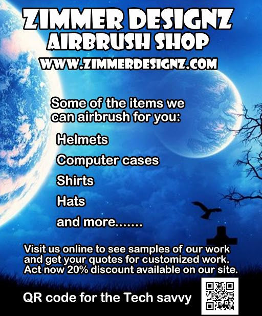 Airbrush flyer for ZimmerDesignZ.com
