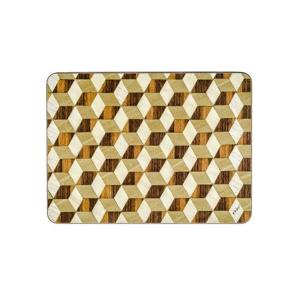6 Set Placemats Brown Art Deco Placemats Large Retro Place Mats Walnut 110 Liked On Polyvore Featuring Hom Brown Placemats Placemats Coloring Placemats