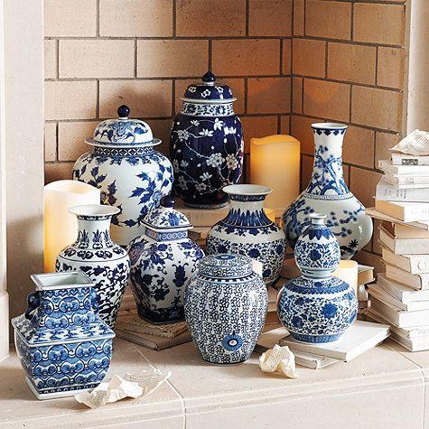 blue u0026 white porcelain vases