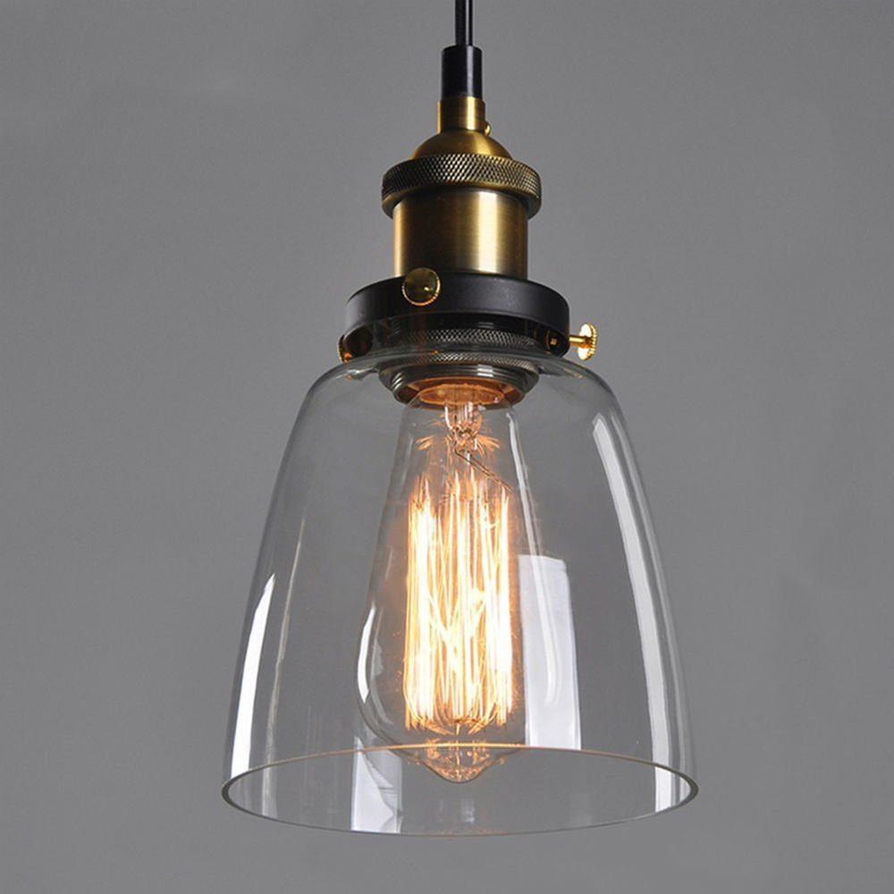 Vintage Industrial Glass Pendant Light: Antique Vintage Industrial DIY Copper Glass Ceiling Lamp