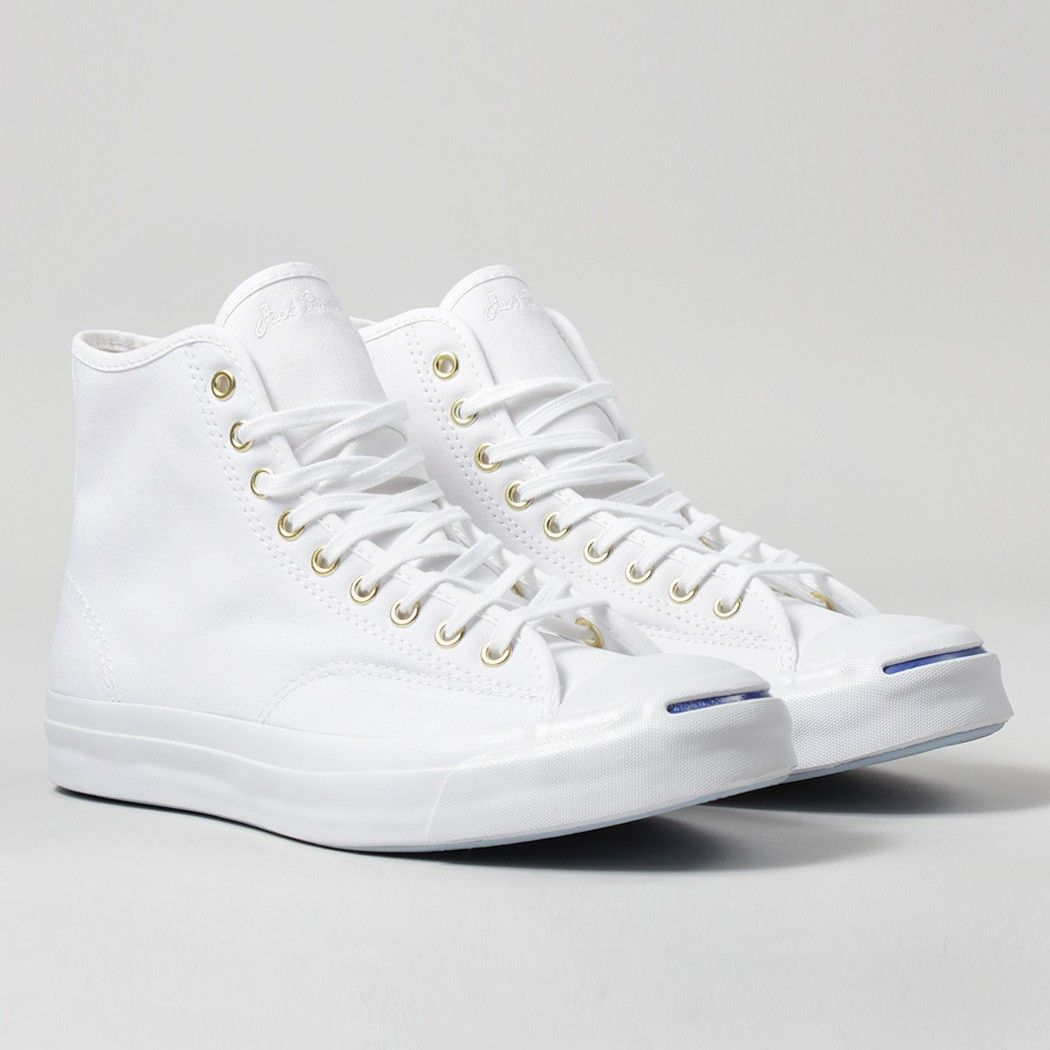 Converse Jack Purcell Signature Duck Canvas Hi Shoes - White/White