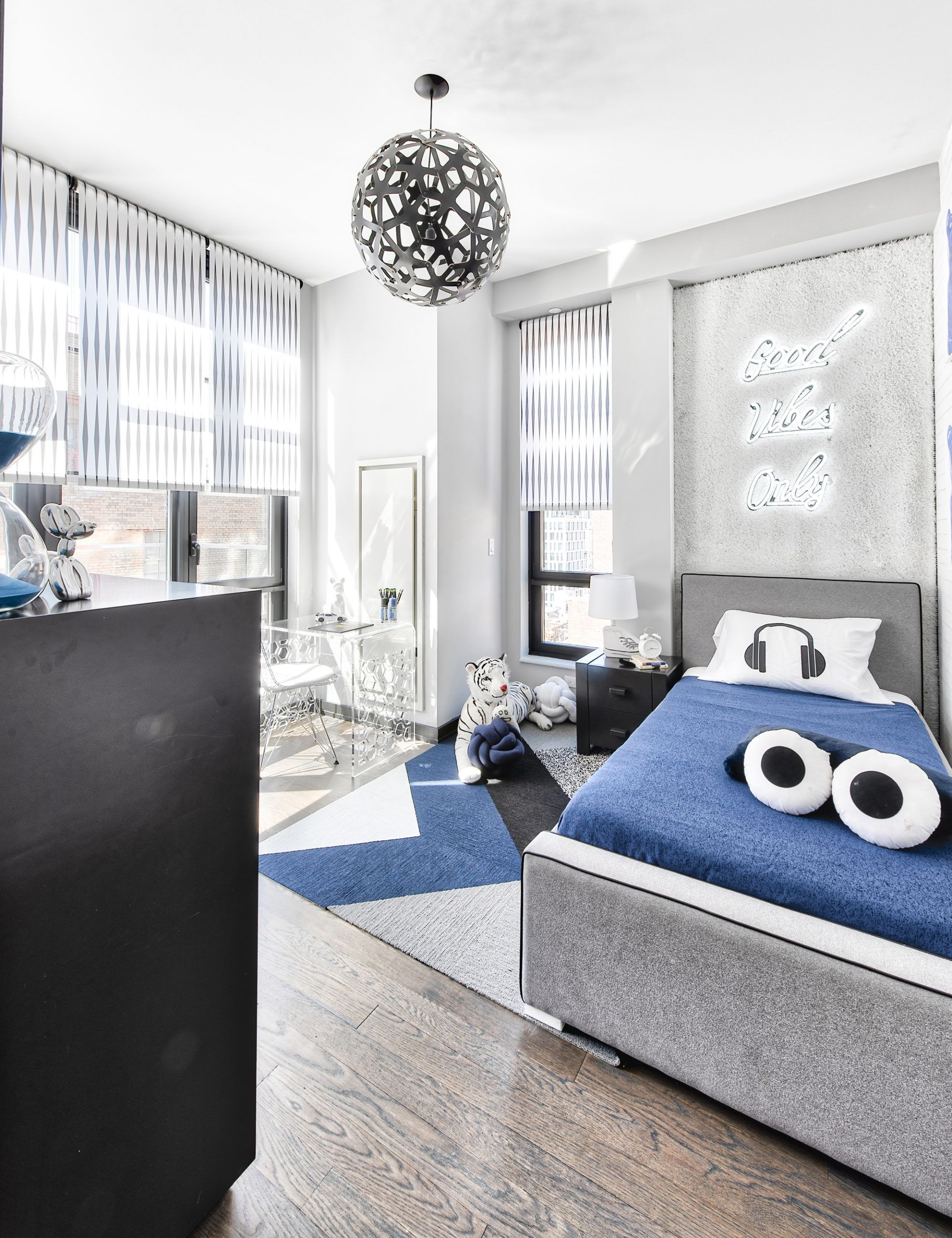Create A Virtual School Station In Your Home Project Nursery Modern Boys Rooms Grey Boys Rooms Boys Room Blue