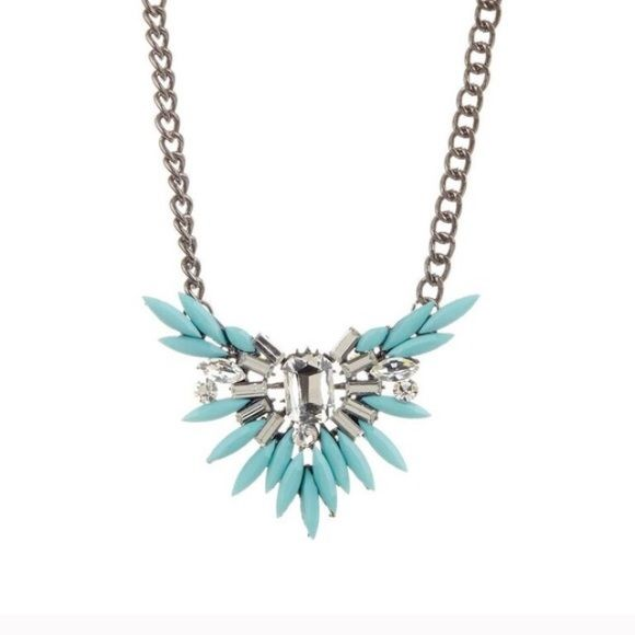 "T&J Designs Mint Wing Pendant T&J Designs Mint Colored wing necklace with glass Crystal stones!! This is a beauty!  Dark metal Chain adds to the Aztec look of this piece! 17"" length plus 3"" extender! T&J Designs Jewelry Necklaces"