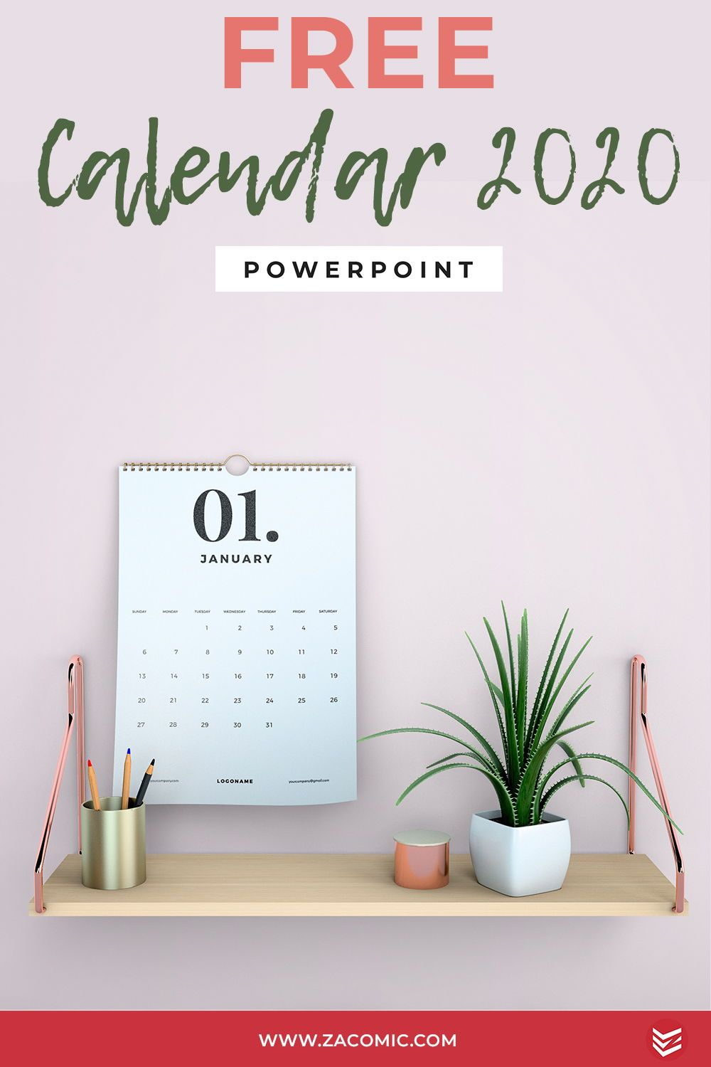 Free 2020 Calendar Powerpoint Template Template For Powerpoint Powerpoint Templates Calendar Template Powerpoint