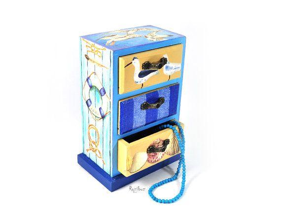 Decoupaged nautical jewelry box cute Refurbished Furniture