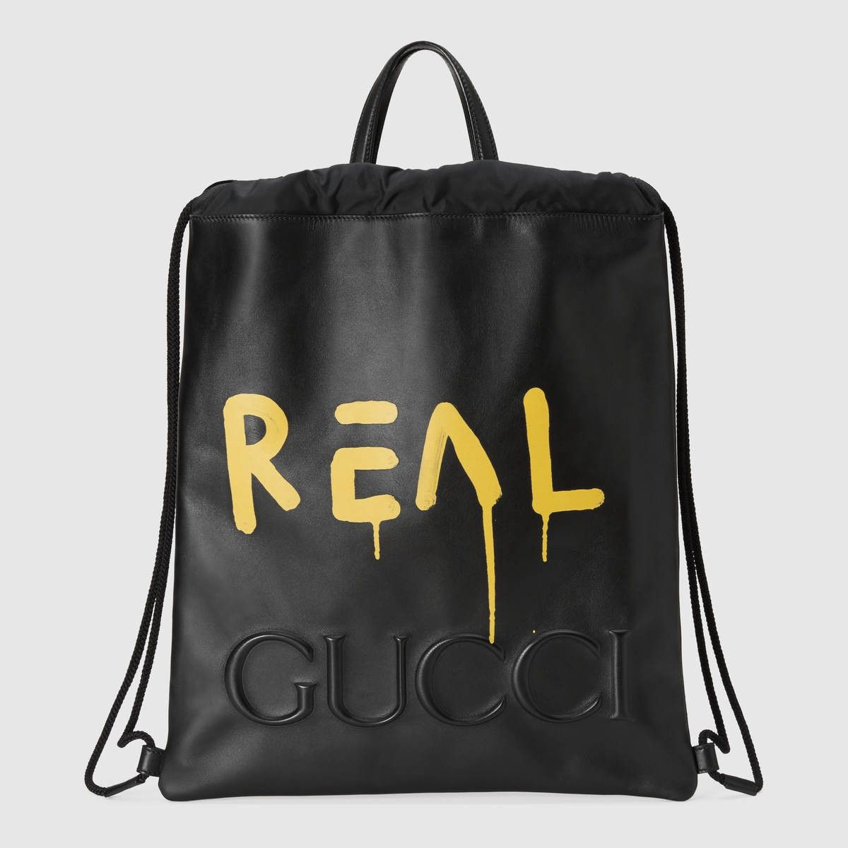 GUCCI GucciGhost drawstring backpack - black leather.  gucci  bags  leather   lining  nylon  backpacks  lace   b04b489c641a8