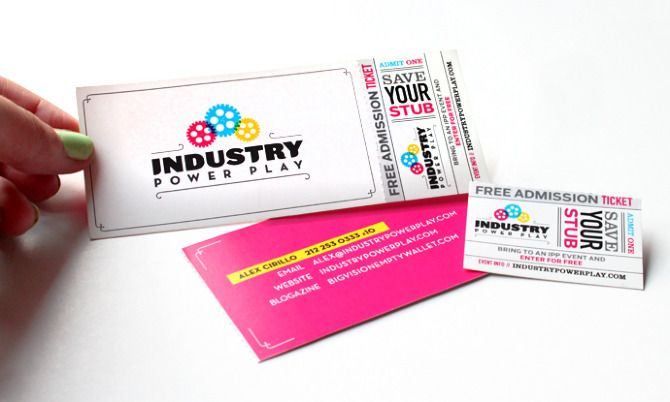 Industry Power Play business cards with free event ticket Design - free ticket printing