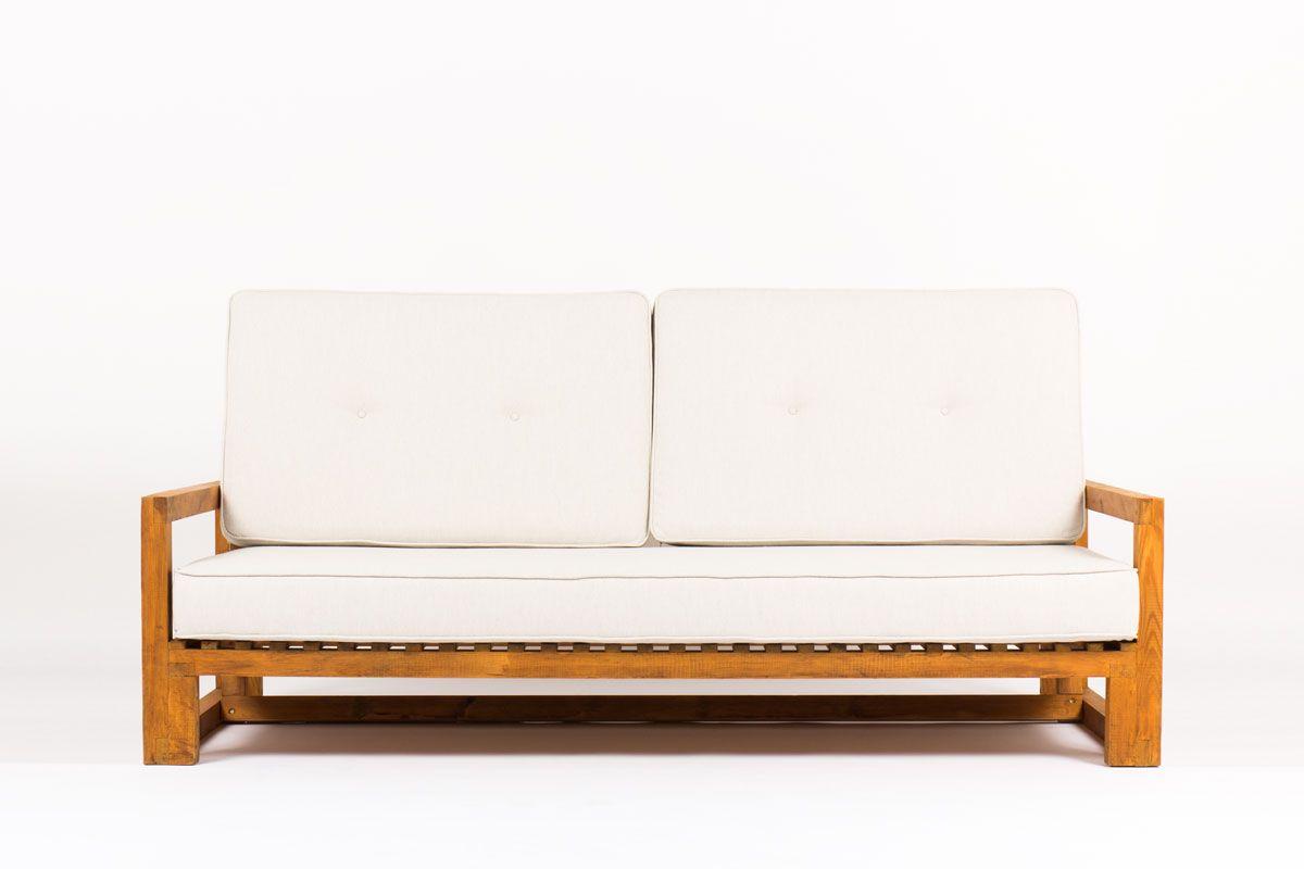 canape vintage en pin et coussin beige 1950 - Canape Beige