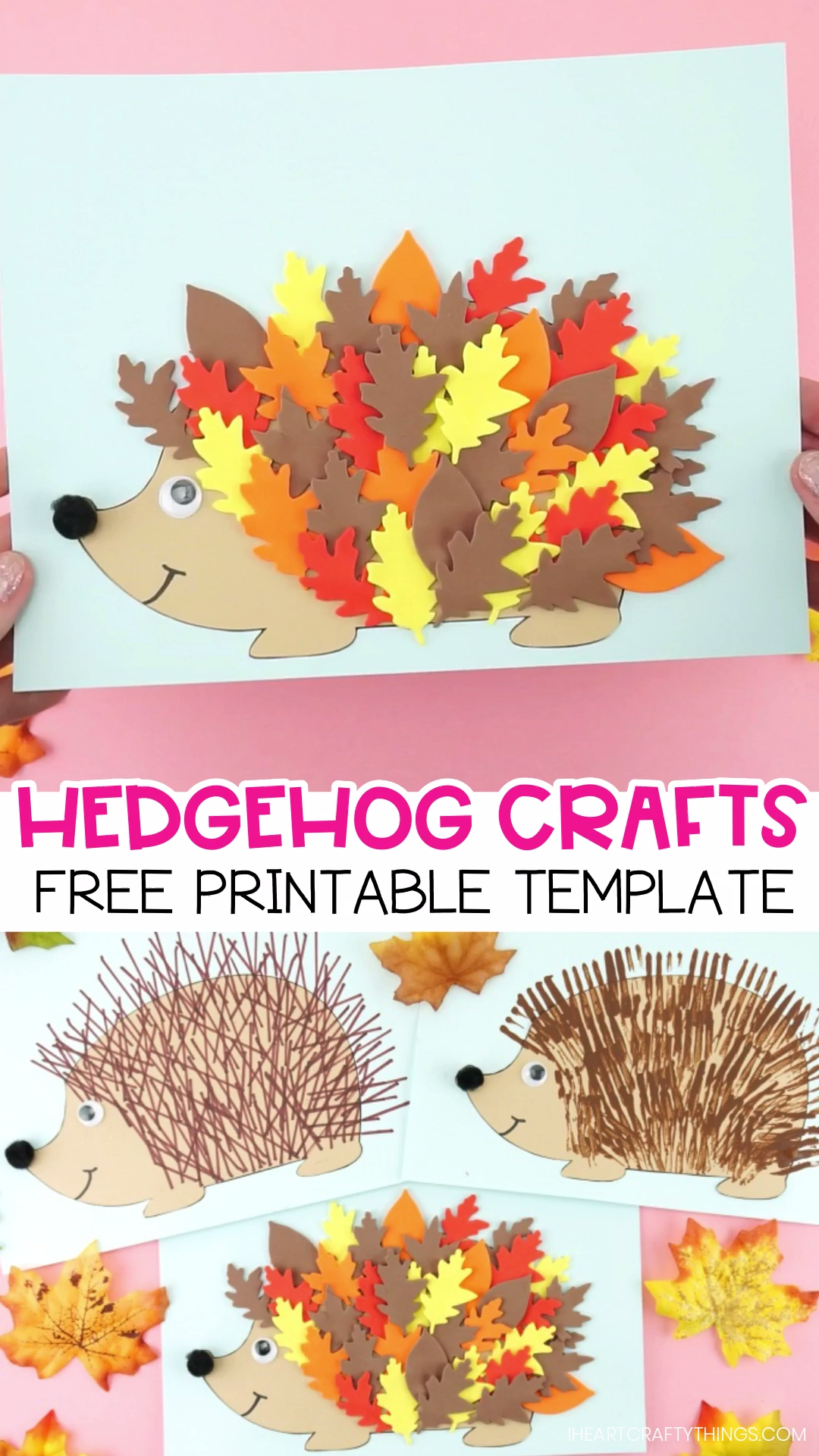 3 fun and easy ways to use our free hedgehog template to create cute hedgehog crafts for kids. Fun fall crafts for kids -Leaf hedgehog, fork painted hedgehog and ruler lines hedgehog craft. Cute woodland animal crafts for kids. #iheartcraftythings