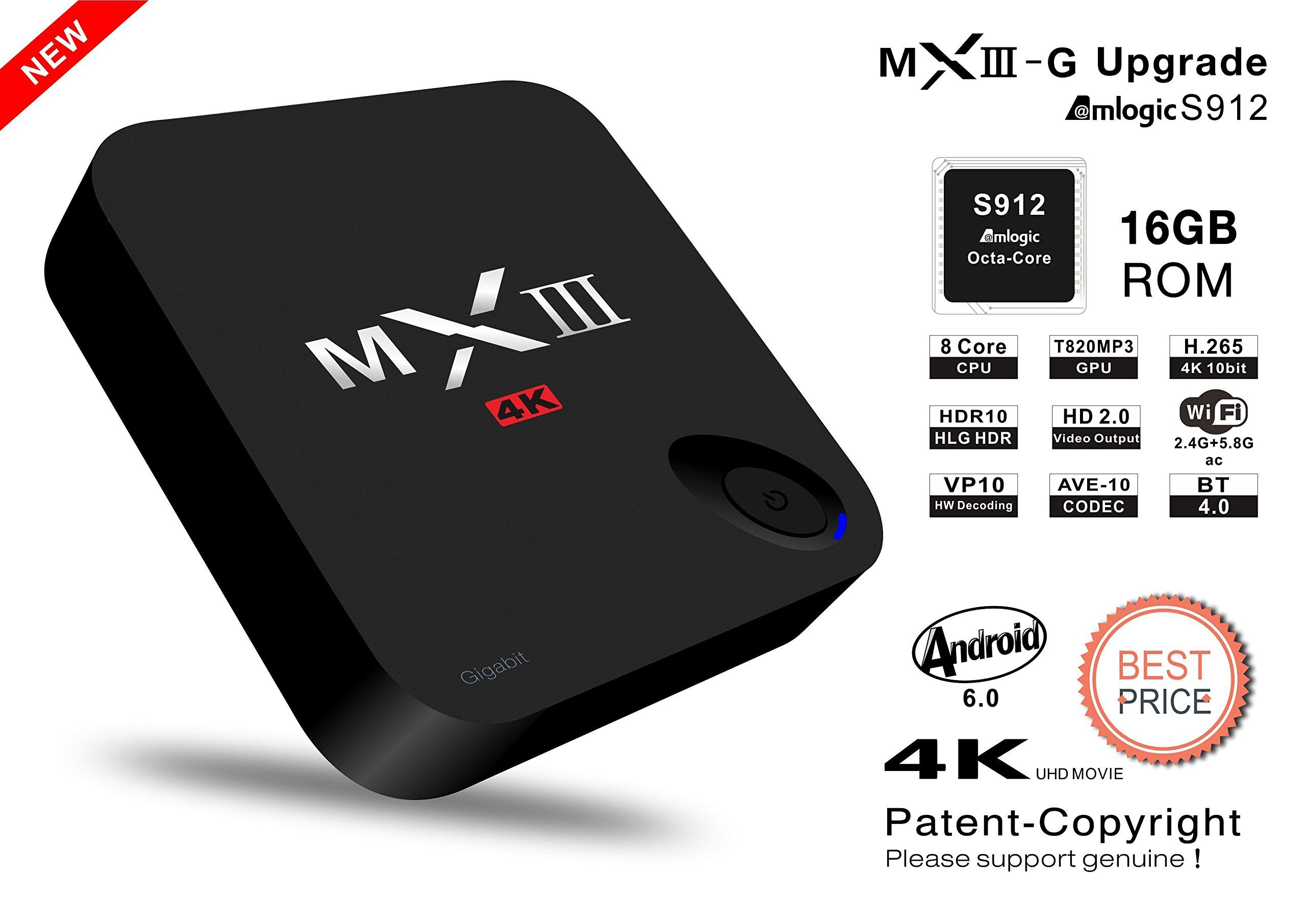 Mxiiig ii android tv box 2g16g amlogic s912 gigabit