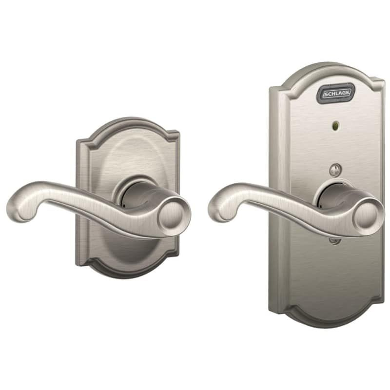 Schlage Fe10 Fla Cam Camelot Passage Door Lever Set With Flair Lever And Built I Satin Nickel Leverset Passage Door Levers Schlage Locks Electronic Lock