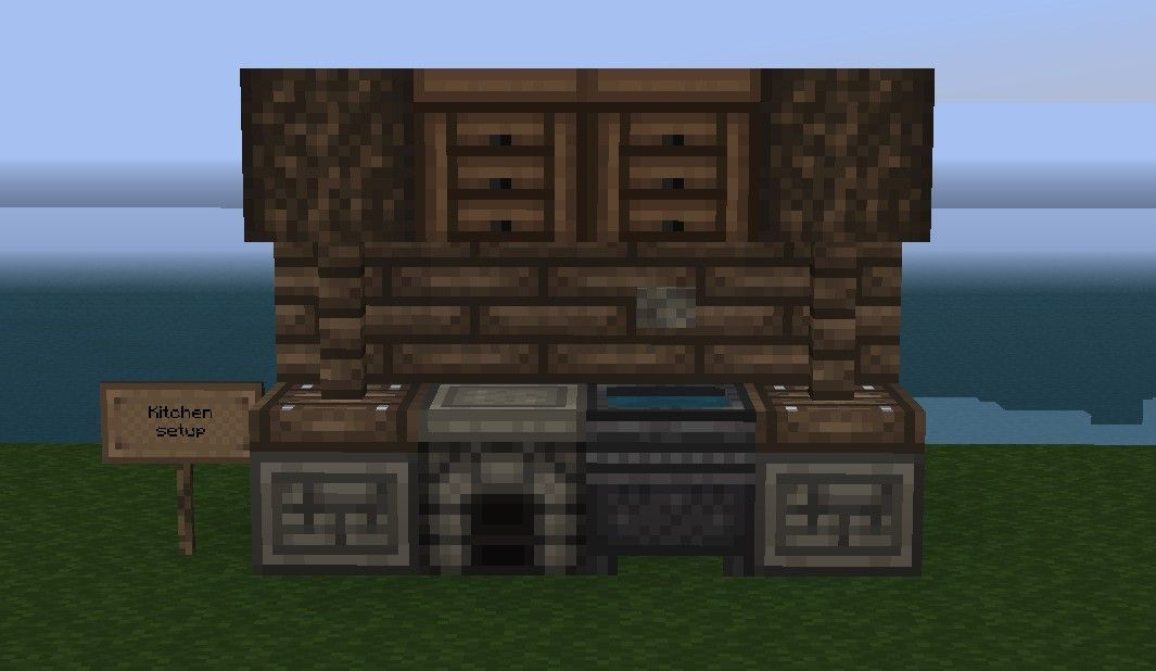 Here is one of the designs of a Minecraft kitchen that you can try