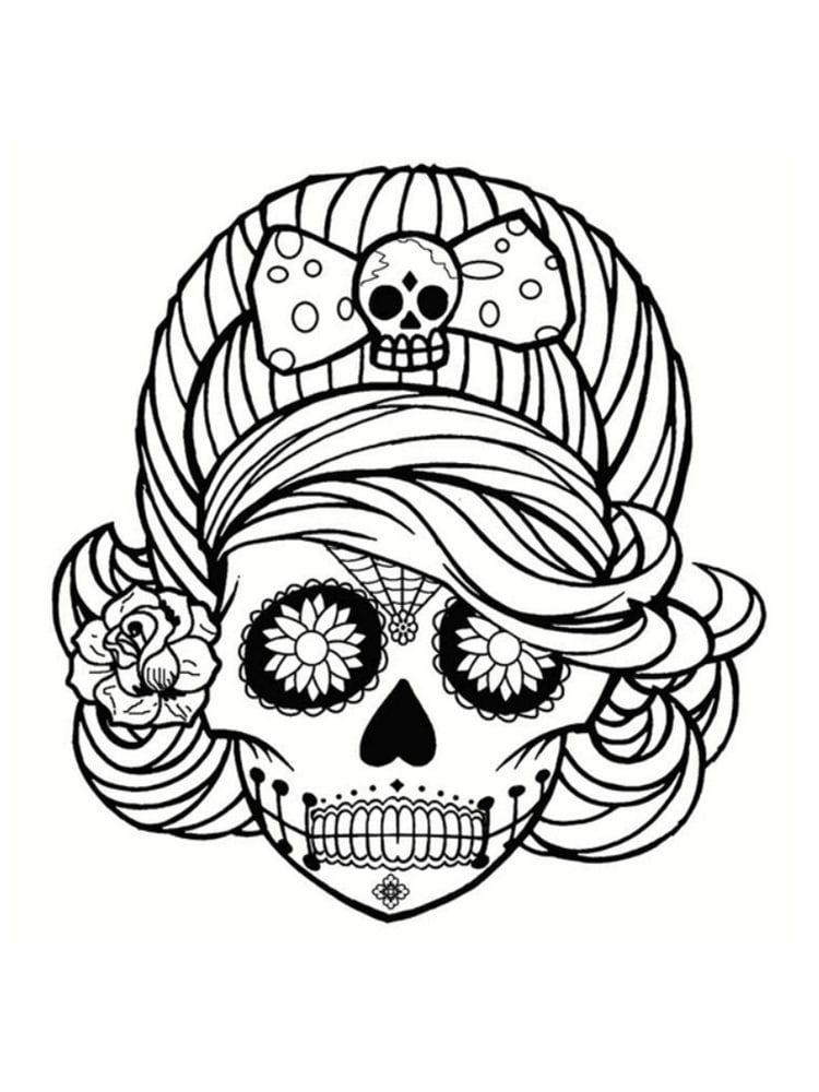 Coloriage Tete De Mort Mexicaine 20 Dessins A Imprimer Coloriage Tete De Mort Coloriage Halloween Coloriage