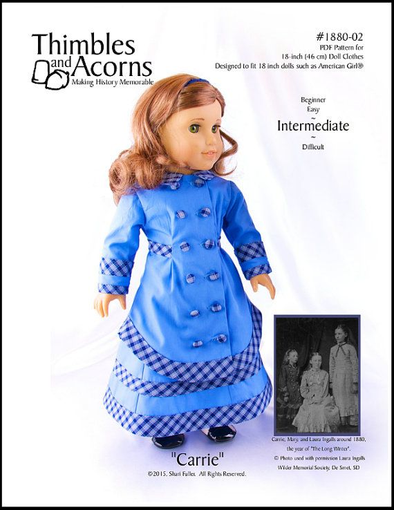 Pixie Faire Thimbles and Acorns Carrie Doll Clothes Pattern for 18 ...