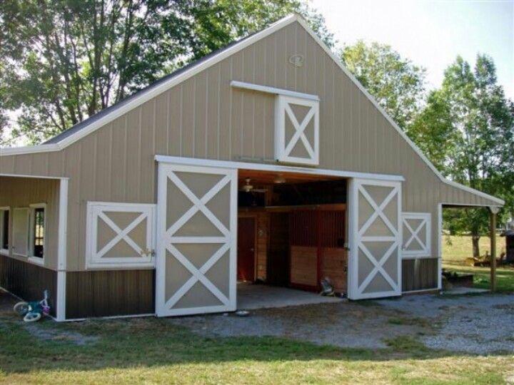 Simple practical horse barn my farm pinterest for Horse pole barn