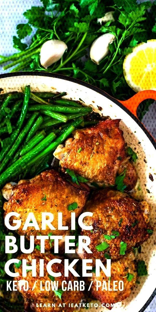 Garlic Butter Keto Chicken Thighs with Green BeansEasy Garlic Butter Keto Chicken Thighs with Green