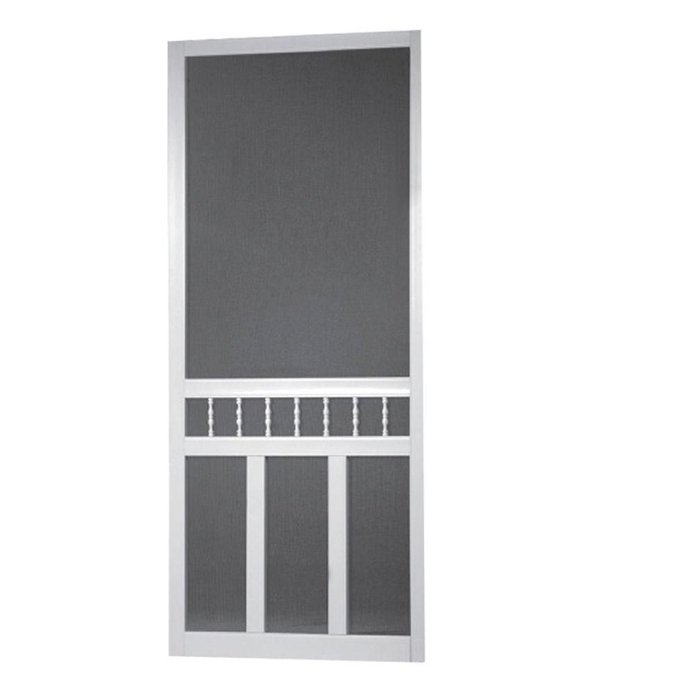 Screen Tight 36 In X 80 In Waccamaw Solid Vinyl White Screen Door With Hardware Decorative Screen Doors Screen Tight Screen Door