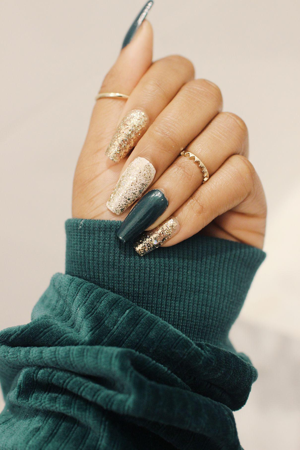 Emerald Glitter Nails Diy Acrylic Nails Emerald Nails Gel Nails
