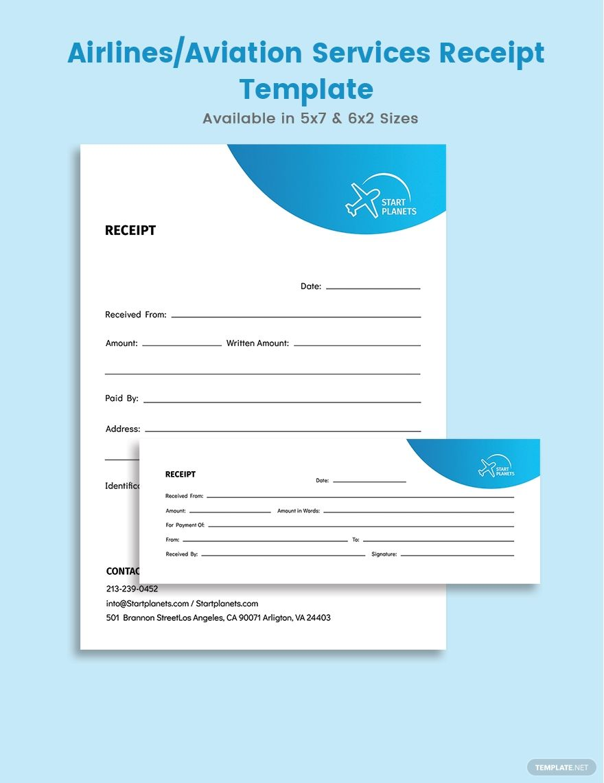 Airlines Aviation Services Receipts Template Free Pdf Word Psd Indesign Apple Pages Illustrator Publisher Receipt Template Document Templates Templates