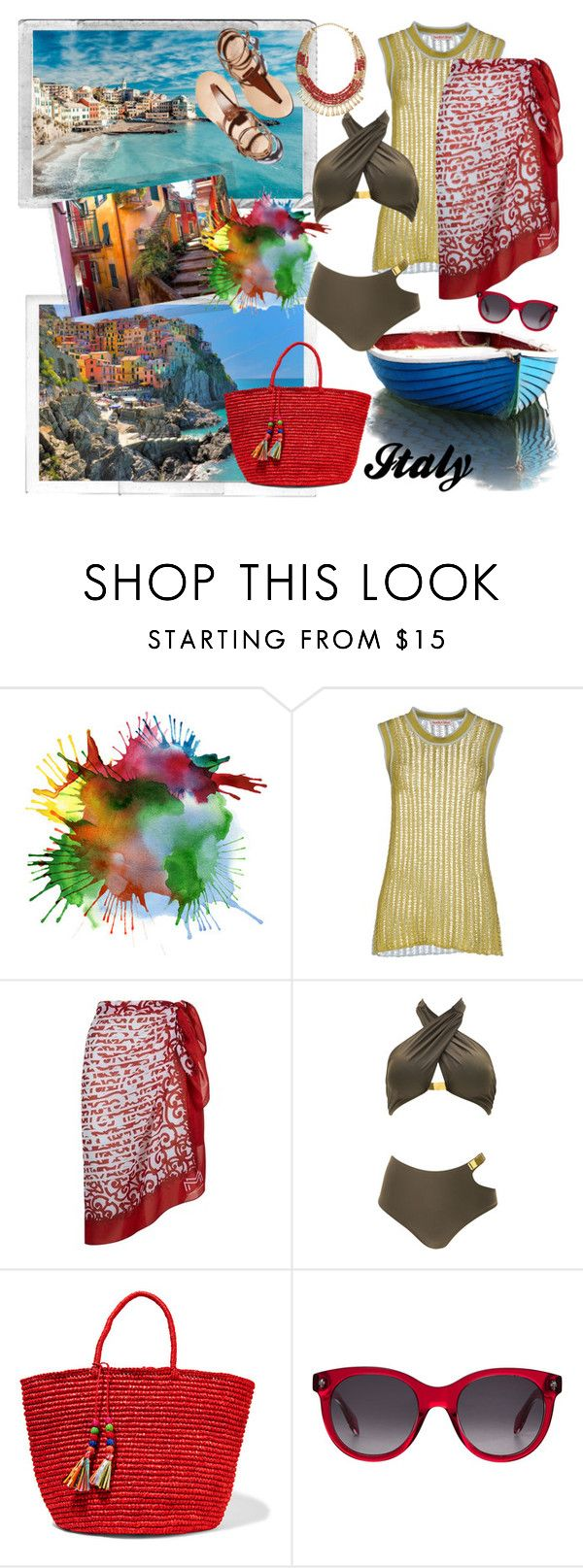 """Holidays in Italy. On the coast"" by carola-corana ❤ liked on Polyvore featuring Polaroid, Cinque, See by Chloé, Maryan Mehlhorn, Sensi Studio, Alexander McQueen, Stella & Dot, Italy, holidays and coast"