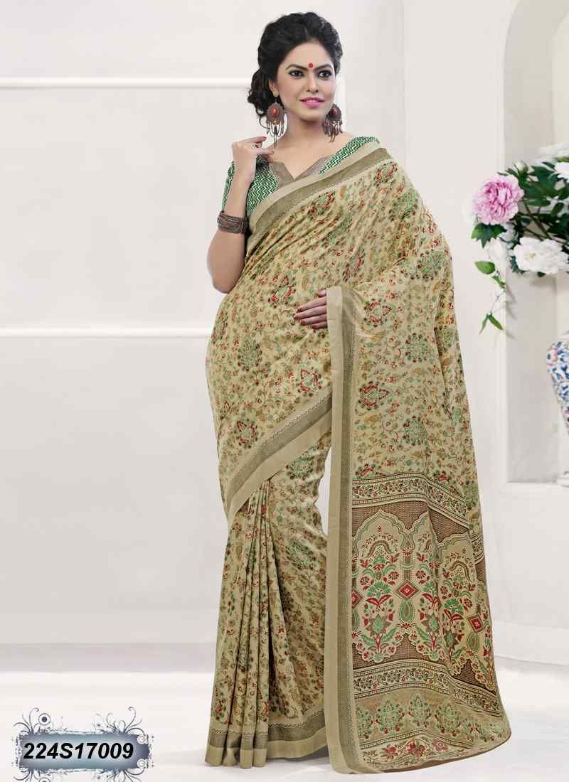 94a4c837753 Desirable Beige Coloured Poly Silk Printed Saree